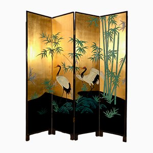 Vintage Art Deco French Black & Golden Wood Folding Screen, 1930s
