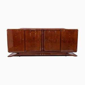 Art Deco French Lacquered Amboyna Burl Wood Sideboard, 1930s