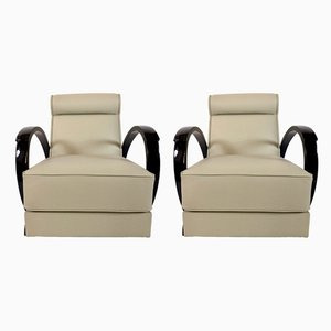 Art Deco French Beige Leather and Black Lacquered Wood Lounge Chairs, 1930s, Set of 2