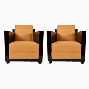 Art Deco French Leather and Black Lacquered Wood Lounge Chairs, 1930s, Set of 2