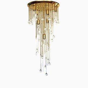 Lámpara de techo italiana vintage de latón y cristal, años 70