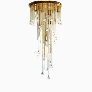 Vintage Italian Brass and Crystal Ceiling Lamp, 1970s