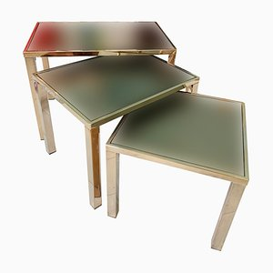 Gold-Plated Nesting Tables from Belgo Chrom, 1970s