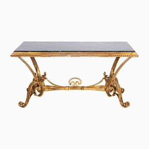 Mid-Century French Iron and Marble Coffee Table, 1940s