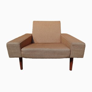 Mid-Century Danish Fabric and Teak Armchair, 1950s
