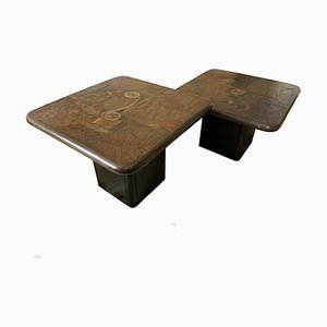 Stone and Metal Side Tables by Paul Kingma for Kneip, 1990s, Set of 2