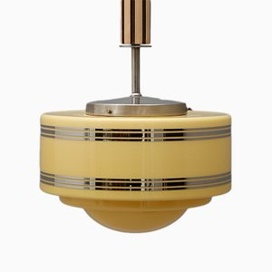 Art Deco Chrome and Wood Ceiling Lamp, 1930s