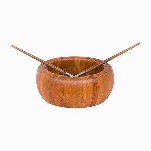 Fuente para ensalada y utensilios para servir escandinavos modernos de teca de Digsmed, años 70