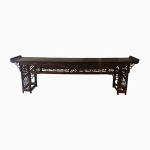 Antique Anglo-Japanese Lacquered Bamboo Console Table, 1890s