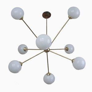 Lámpara de araña italiana moderna de latón y vidrio, años 60