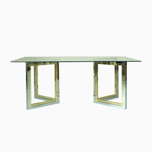 Table Basse en Laiton et Chrome, Italie, 1970s