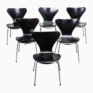 Sedie nr. 3107 di Arne Jacobsen per Fritz Hansen, anni '60, set di 6