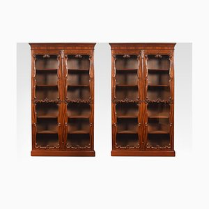 Antique Rococo Revival Mahogany Bookcases, Set of 2