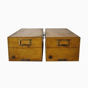 Boîtes d'Archive en Bois de Erich Ortloff, 1960s, Set de 2