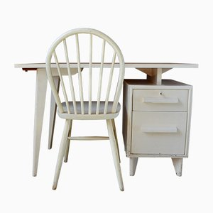 Mid-Century French Modernist Chair & Desk Set, 1950s