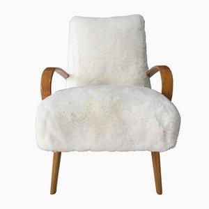 Sessel aus Bugholz & Schaffell im Art Deco-Stil von TON, 1960er