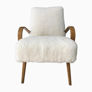 Art Deco Style Bentwood and Sheepskin Easy Chair from TON, 1960s