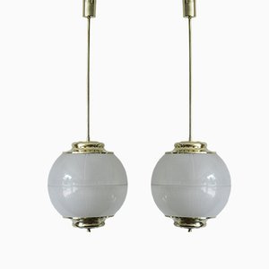 Italian Glass Pendant Lamps from Chiaravallotti, 1960s, Set of 2