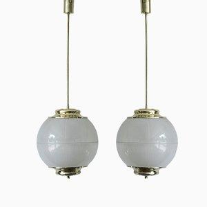 Lámparas colgantes italianas de vidrio de Chiaravallotti, años 60. Juego de 2