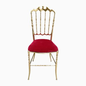 Italian Brass & Velour Chiavari Side Chairs, 1950s, Set of 4