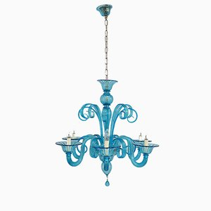 Italian Blue Murano Glass Chandelier, 1980s