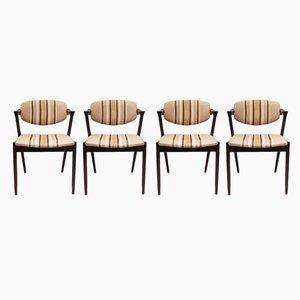 Dänische Modell 42 Esszimmerstühle von Kai Kristiansen für Schou Andersen, 1960er, 4er Set