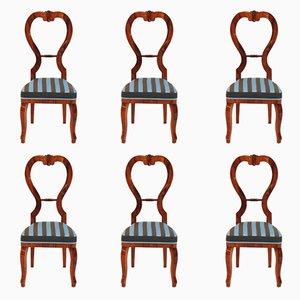 Antike Empire Esszimmerstühle aus Kirschholz, 6er Set