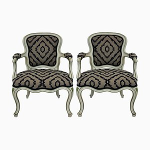 Italian Wood and Wool Lounge Chairs, 1950s, Set of 2