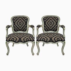 Italienische Sessel aus Holz & Wolle, 1950er, 2er Set