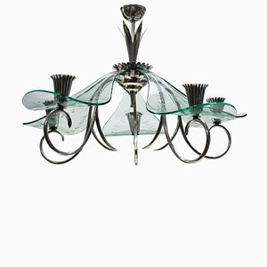 Italian Modern Glass and Silver Plating Chandelier, 1940s