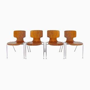 Deutsche Esszimmerstühle aus Pagholz von Wilkhahn, 1970er, 4er Set