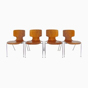 German Pagwood Dining Chairs from Wilkhahn, 1970s, Set of 4