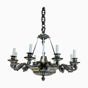 Antique English Bronze & Silver 6-Arm Chandelier, 1860s