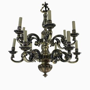 Antique Charles II Style Bronze & Silver Chandelier, 1830s