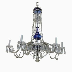 Antique Baltic Hand-Blown & Cut-Glass Chandelier