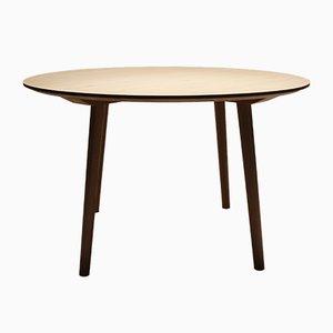 Mesa de comedor danesa vintage redonda de roble