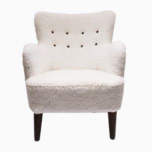 Dänischer Sessel aus Mahagoni & weißer Wolle, 1930er