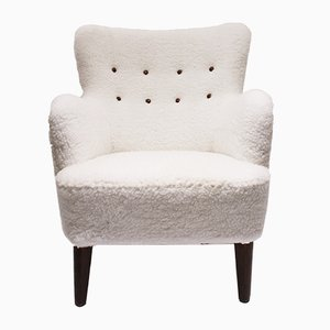 Danish Mahogany and White Wool Lounge Chair, 1930s