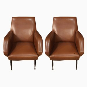 Vintage Italian Leatherette Armchairs, 1970s, Set of 2