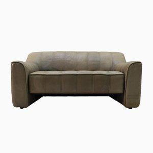 Sofá de dos plazas DS-44 vintage de cuero de de Sede, años 70