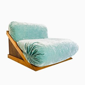 Mid-Century Wood, Wicker, and Velvet Lounge Chair, 1960s