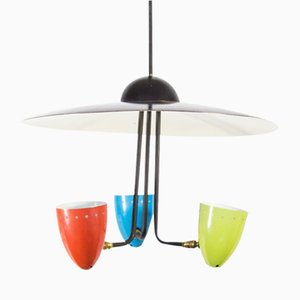 Lámpara de techo tricolor vintage de H. Th. JA Busquet para Hala, años 50