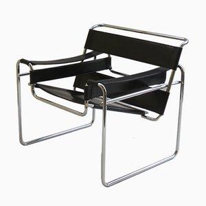 Sedia B3 Wassily in pelle nera e metallo cromato di Marcel Breuer per Knoll, anni '80