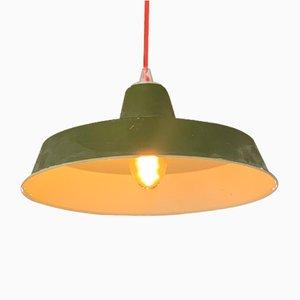 Lampe à Suspension Industrielle en Émail Vert et Blanc, Italie, 1940s
