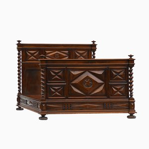 Antique Hand-Crafted French Walnut Bed, 1820s