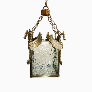 Art Nouveau Style Brass and Glass Ceiling Lamp, 1940s