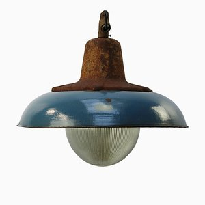 Industrial Blue Cast Iron & Enamel Ceiling Lamp, 1950s