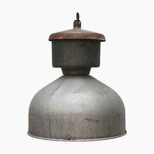 Graue industrielle Hängelampe aus Metall, 1950er