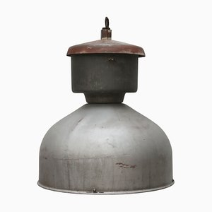 Industrial Grey Metal Pendant Lamp, 1950s