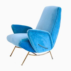 Italian Brass and Velvet Lounge Chair by Nino Zoncada, 1950s